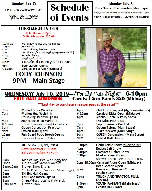Event Schedule – Crawford County Fair